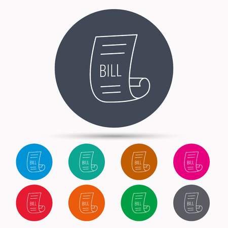 pay bill: Bill icon. Pay document sign. Business invoice or receipt symbol. Icons in colour circle buttons. Vector