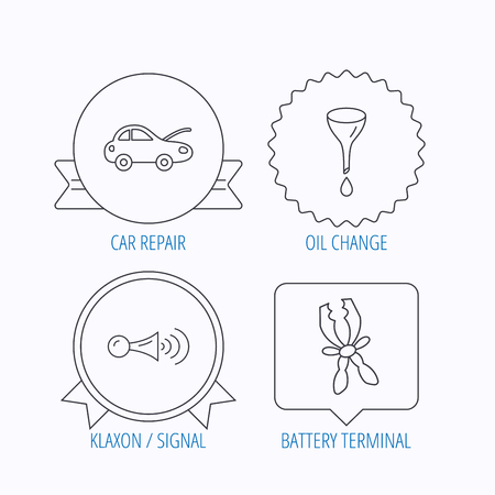 oil change: Car repair, oil change and signal icons. Klaxon signal, battery terminal linear signs. Award medal, star label and speech bubble designs. Vector