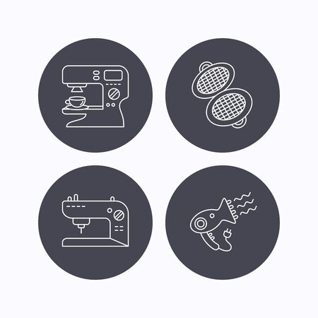 sign maker: Coffee maker, sewing machine and hairdryer icons. Waffle-iron linear sign. Flat icons in circle buttons on white background. Vector