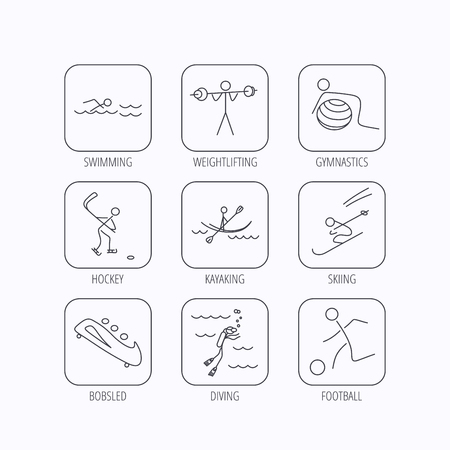 bobsleigh: Swimming, football and skiing icons. Ice hockey, diving and gymnastics linear signs. Kayaking, weightlifting and bobsleigh icons. Flat linear icons in squares on white background. Vector Illustration