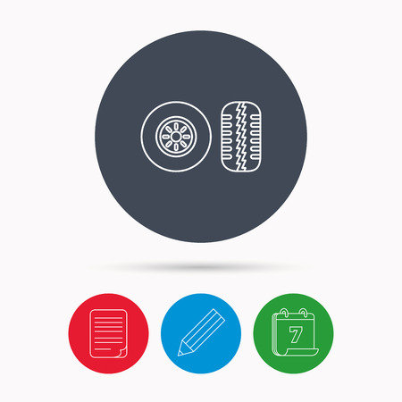 tread: Tire tread icon. Car wheel sign. Calendar, pencil or edit and document file signs. Vector