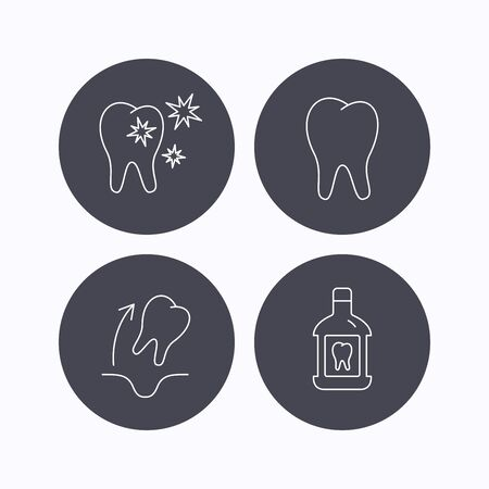 paradontosis: Tooth, mouthwash and healthy teeth icons. Tooth extraction linear sign. Flat icons in circle buttons on white background. Vector Illustration