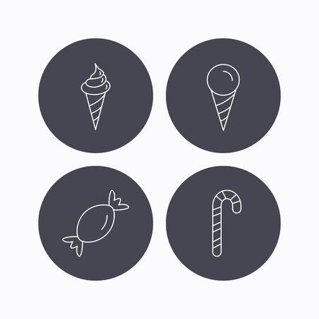 IJs, snoep pictogrammen. Snoepjes lineair teken. Vlakke pictogrammen in cirkelknopen op witte achtergrond. Vector Vector Illustratie