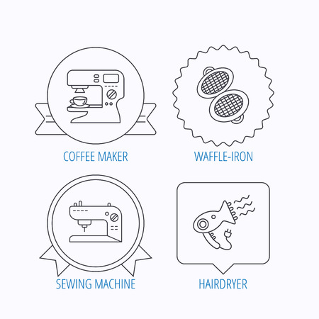 sign maker: Coffee maker, sewing machine and hairdryer icons. Waffle-iron linear sign. Award medal, star label and speech bubble designs. Vector