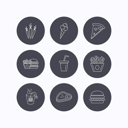 ice tea: Hamburger, pizza and soft drink icons. Tea bag, meat and chips fries linear signs. Ice cream, carrot icons. Flat icons in circle buttons on white background. Vector Illustration