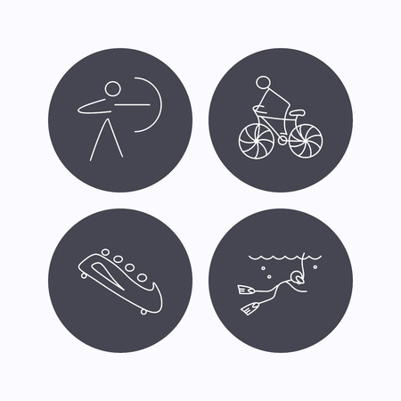 bobsled: Diving, biking and archery icons. Bobsled linear sign. Flat icons in circle buttons on white background. Vector Illustration