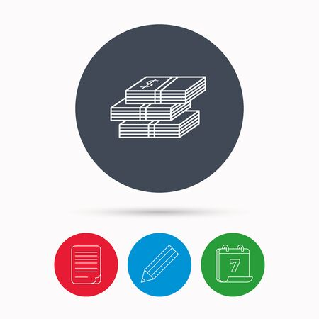 wads: Cash icon. Dollar money sign. USD currency symbol. 3 wads of money. Calendar, pencil or edit and document file signs. Vector