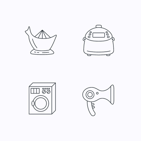 auto washing: Washing machine, multicooker and hair dryer icons. Washing machine linear sign. Flat linear icons on white background. Vector