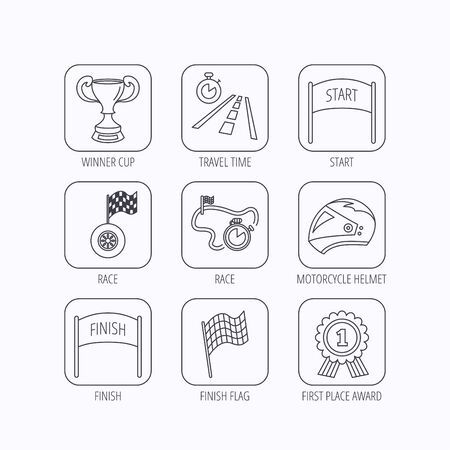 race winner: Winner cup and award icons. Race flag, motorcycle helmet and timer linear signs. Road travel, finish and start flat line icons. Flat linear icons in squares on white background. Vector