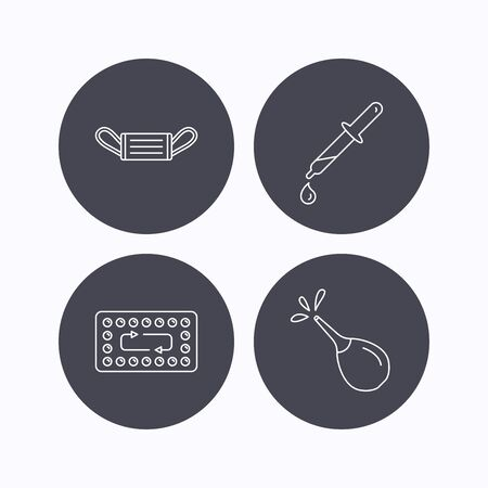 contraception: Medical mask, contraception and pipette icons. Clyster linear sign. Flat icons in circle buttons on white background. Vector