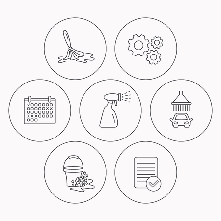 foam bubbles: Car wash icons. Automatic cleaning station linear signs. Bucket with foam bubbles, spray flat line icons. Check file, calendar and cogwheel icons. Vector