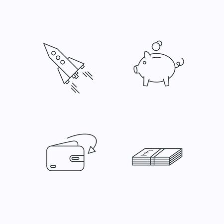 receive: Piggy bank, cash money and startup rocket icons. Wallet, receive money linear signs. Flat linear icons on white background. Vector