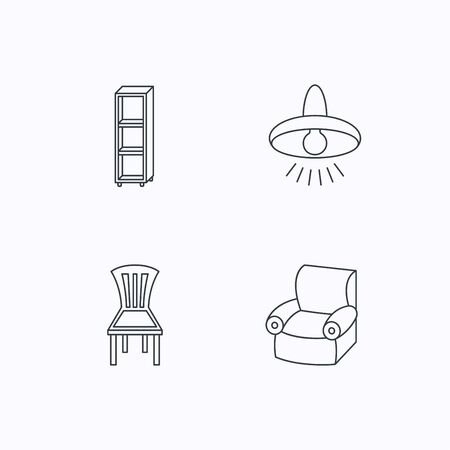 shelving: Chair, ceiling lamp and armchair icons. Shelving linear sign. Flat linear icons on white background. Vector