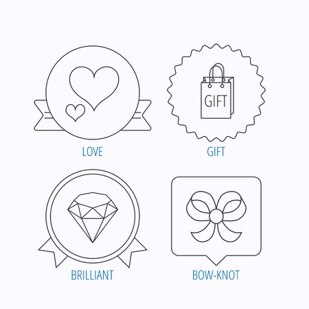 brilliant heart: Love heart, gift bag and brilliant icons. Bow-knot linear sign. Award medal, star label and speech bubble designs. Vector