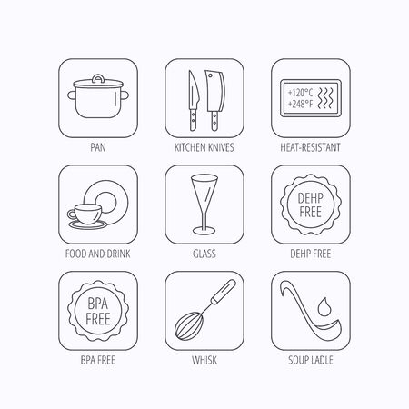 bpa: Kitchen knives, glass and pan icons. Food and drink, coffee cup and whisk linear signs. Soup ladle, heat-resistant and DEHP, BPA free icons. Flat linear icons in squares on white background. Vector Illustration