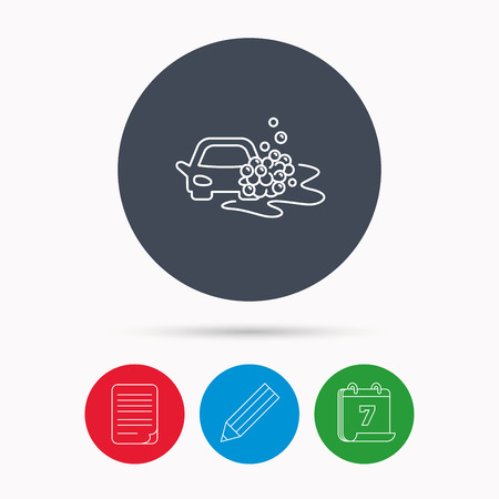 operated: Car wash icon. Cleaning station sign. Foam bubbles symbol. Calendar, pencil or edit and document file signs. Vector