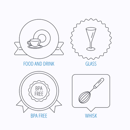bpa: Food and drink, glass and whisk icons. BPA free linear sign. Award medal, star label and speech bubble designs. Vector