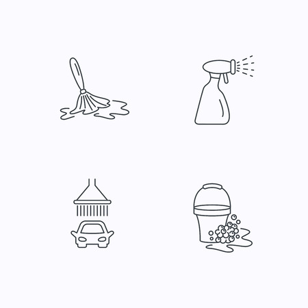 foam bubbles: Car wash icons. Automatic cleaning station linear signs. Bucket with foam bubbles, spray flat line icons. Flat linear icons on white background. Vector Illustration