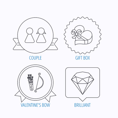 amour: Couple, brilliant and engagement gift box icons. Valentine amour arrows linear signs. Award medal, star label and speech bubble designs. Vector Illustration