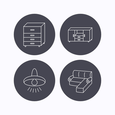 drawers: Corner sofa, ceiling lamp and chest of drawers icons. Furniture linear signs. Flat icons in circle buttons on white background. Vector