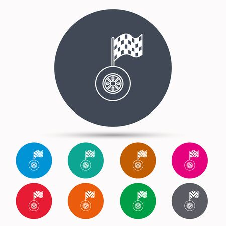racing sign: Race icon. Wheel with racing flag sign. Icons in colour circle buttons. Vector