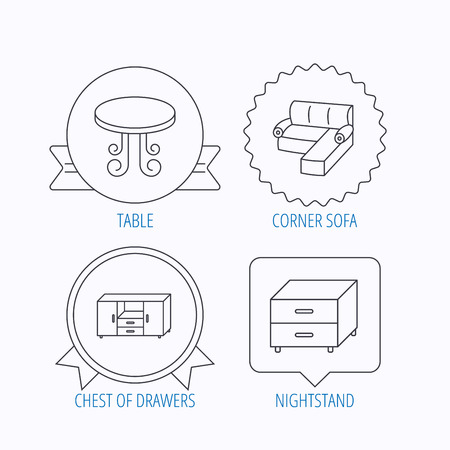 chest of drawers: Corner sofa, table and nightstand icons. Chest of drawers linear sign. Award medal, star label and speech bubble designs. Vector
