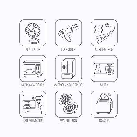 coffee blender: Microwave oven, hair dryer and blender icons. Refrigerator fridge, coffee maker and toaster linear signs. Ventilator, curling iron and waffle-iron icons. Flat linear icons in squares on white background. Vector