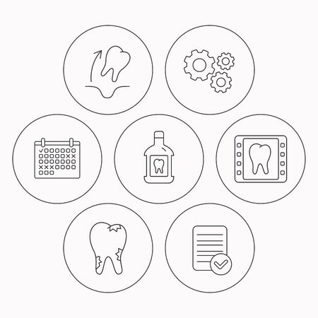 tooth extraction: Tooth extraction, caries and mouthwash icons. Dental x-ray linear sign. Check file, calendar and cogwheel icons. Vector