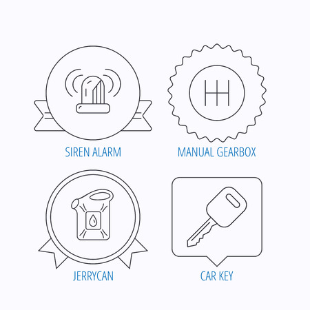 gearbox: Manual gearbox, jerrycan and car key icons. Siren alarm, fuel jerrycan linear signs. Award medal, star label and speech bubble designs. Vector Illustration