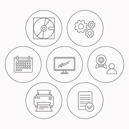 portative: Monitor, printer and video chat icons. Hard disk linear sign. Check file, calendar and cogwheel icons. Vector