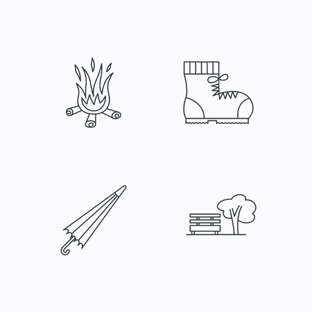 hiking boots: Bonfire, umbrella and hiking boots icons. Park linear sign. Flat linear icons on white background. Vector