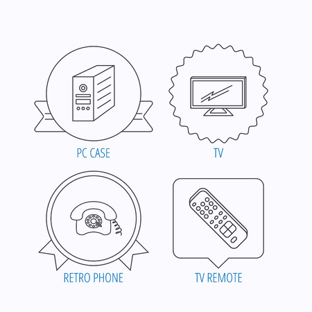 retro tv: TV remote, retro phone and TV remote icons. Widescreen TV linear sign. Award medal, star label and speech bubble designs. Vector Illustration