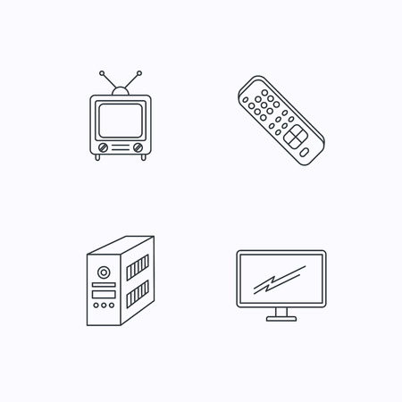 pc case: Retro TV, PC case and monitor icons. TV remote linear sign. Flat linear icons on white background. Vector