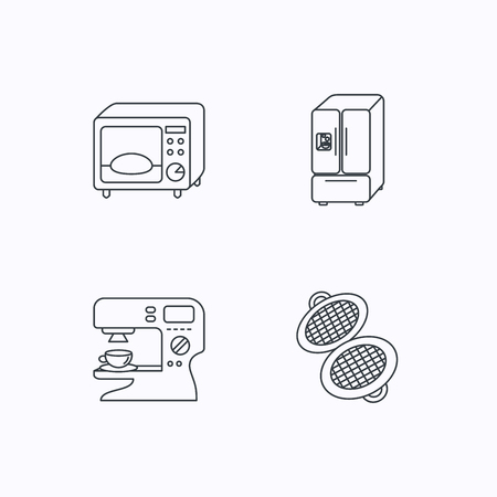 sign maker: Microwave oven, waffle-iron and American style fridge icons. Coffee maker linear sign. Flat linear icons on white background. Vector Illustration