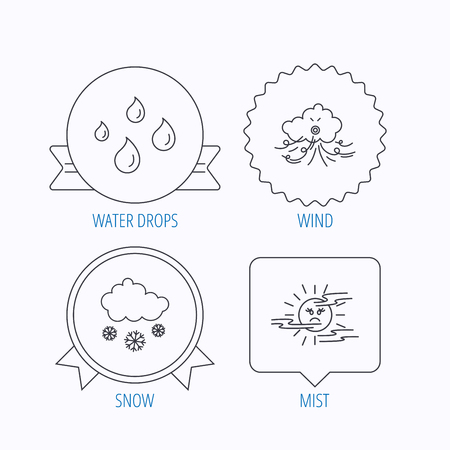 mist: Weather, snow and rain icons. Water drops and mist linear signs. Award medal, star label and speech bubble designs. Vector