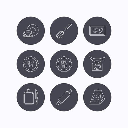 pin board: Kitchen scales, whisk and grater icons. Rolling pin, board and knife linear signs. Food and drink, BPA, DEHP free icons. Flat icons in circle buttons on white background. Vector Illustration