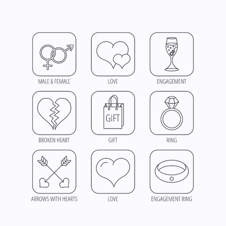 shopping champagne: Love heart, gift box and wedding ring icons. Broken heart and engagement linear signs. Valentine amour arrows, brilliant flat line icons. Flat linear icons in squares on white background. Vector