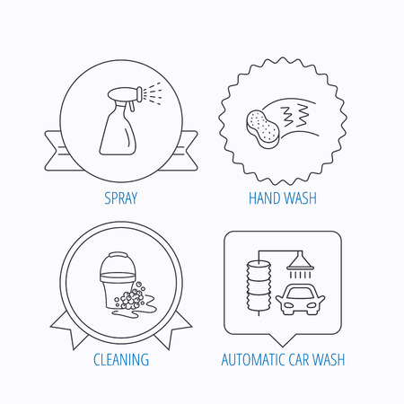 foam bubbles: Car wash icons. Automatic cleaning station linear signs. Bucket with foam bubbles, sponge and spray flat line icons. Award medal, star label and speech bubble designs. Vector