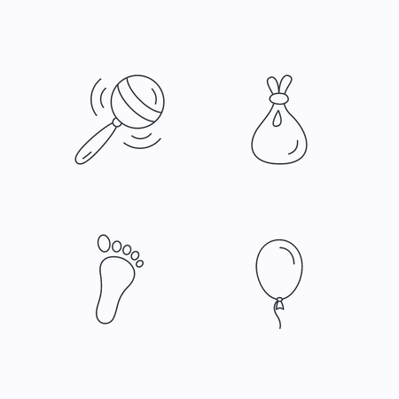 toy sack: Rattle toy, footprint and air balloon icons. Sack linear sign. Flat linear icons on white background. Vector