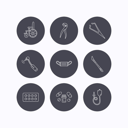 tweezers: Medical mask, pills and dental pliers icons. Tablets, drilling tool and wheelchair linear signs. Enema, scalpel and tweezers flat line icons. Flat icons in circle buttons on white background. Vector