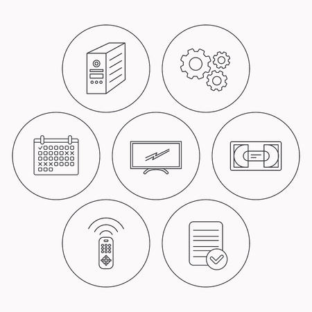 tv remote: TV remote, VHS cassette and PC case icons. Widescreen TV linear sign. Check file, calendar and cogwheel icons. Vector