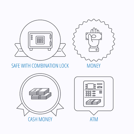 give money: Give money, cash money and ATM icons. Safe box linear sign. Award medal, star label and speech bubble designs. Vector Illustration