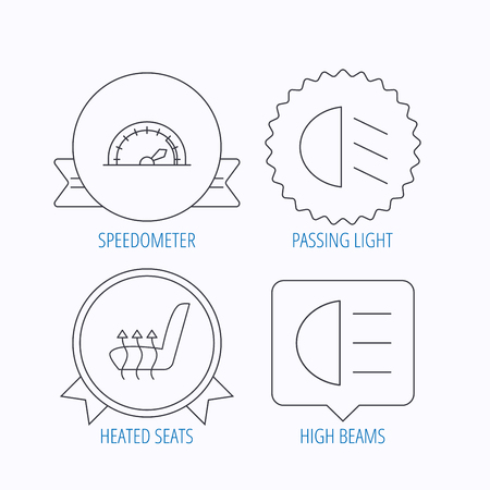 high beams: Speedometer, passing fog lights and heated seat icons. High beams linear sign. Award medal, star label and speech bubble designs. Vector