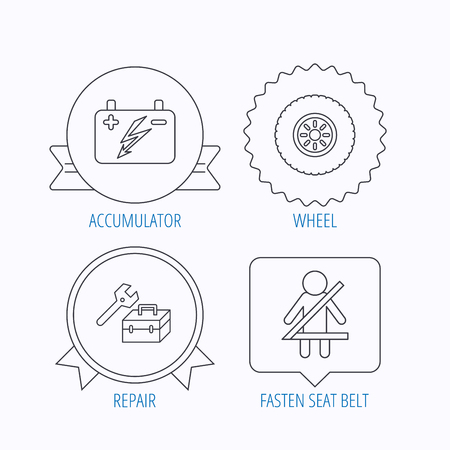 fasten: Accumulator, wheel and car service icons. Repair toolbox, fasten seat belt linear signs. Award medal, star label and speech bubble designs. Vector