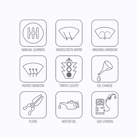 heated: Motor oil change, traffic lights and pliers icons. Gas station, heated window and manual gearbox linear signs. Washing window icons. Flat linear icons in squares on white background. Vector Illustration