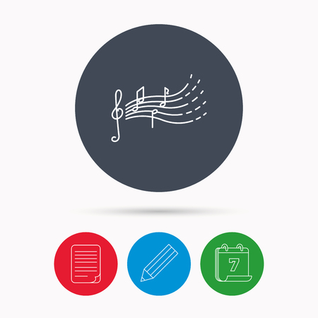 gclef: Songs for kids icon. Musical notes, melody sign. G-clef symbol. Calendar, pencil or edit and document file signs. Vector