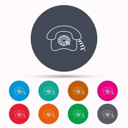 telephone icons: Retro phone icon. Old telephone sign. Icons in colour circle buttons. Vector