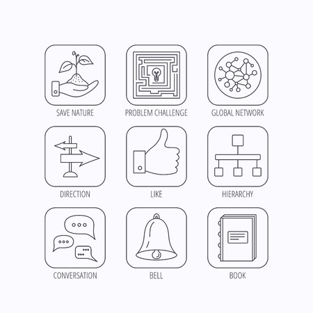 global direction: Global network, like and conversation icons. Book, bell and direction arrows linear signs. Save nature, maze and hierarchy icons. Flat linear icons in squares on white background. Vector