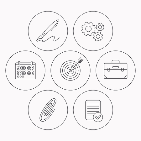 safety check: Briefcase, safety pin and target icons. Pen linear sign. Check file, calendar and cogwheel icons. Vector Illustration