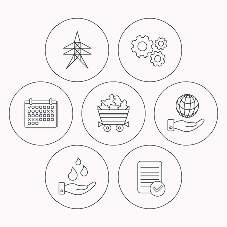 mines: Save water, planet and electricity station icons. Minerals linear sign. Check file, calendar and cogwheel icons. Vector Illustration